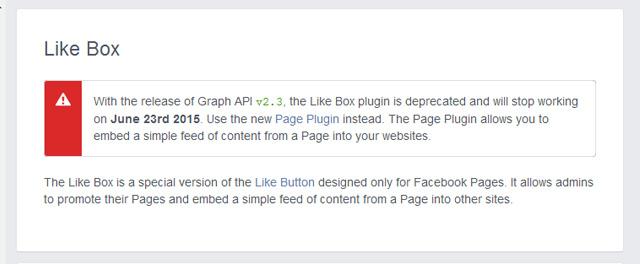 「Like Box」から「Page Plugin」へ